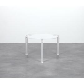 Table Finy Emporium design Roberto Giacomucci en métachrylate transparent et blanc