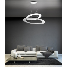 Suspension Led Drop Giarnieri aluminium et diffuseur methacrylate blanc 140w led 12600 lumens 3000k