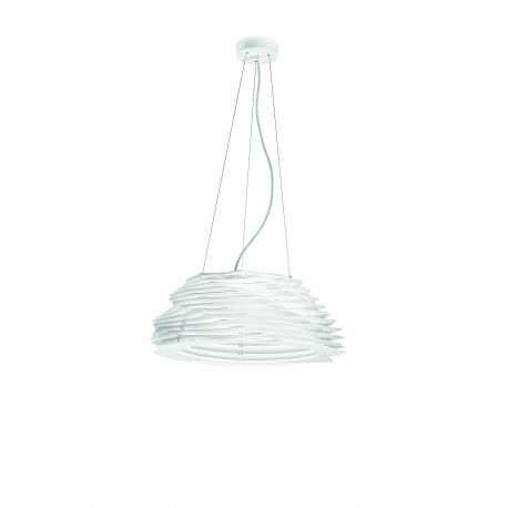 Suspension Led Stratos Giarnieri aluminium et methacrylate blanc 40w led 3600 lumens 3000k
