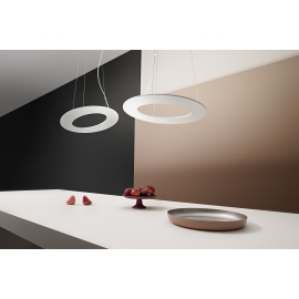 Suspension Led Plekto Giarnieri aluminium blanc 60w led 5400 lumens 3000k Photo d`ambiance avec 2 suspensions Plekto.