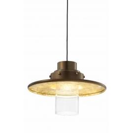Suspension Tre Grazie Sillux fabrication italienne en métal bronze et doré à la feuille d`or 40w E14