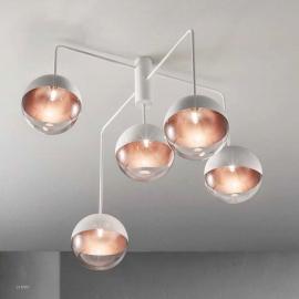 Plafonnier Ball Sillux fabrication italienne en métal blanc verre blanc et transparent intérieur bronze 5x33w G9