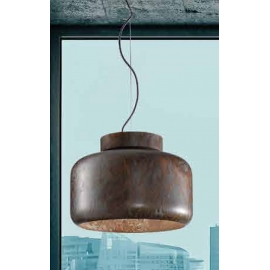 Suspension Abside Sillux fabrication italienne en métal bronze vieilli 77w E27