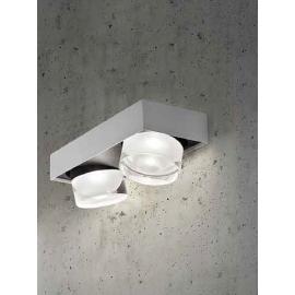 Applique led Optikal Sillux fabrication italienne en métal nickel satiné 2x4,5w 900 lumens 3000k existe en blanc, en rouille