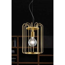Suspension Fortuna Sillux fabrication italienne en métal or 42w E27 existe en gris brut, en rouille