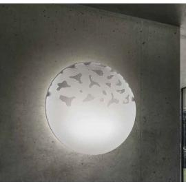Plafonnier Aquaria Sillux fabrication italienne en verre blanc 2x46w E27