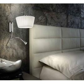 Applique double éclairage Cannes Sillux fabrication italienne abat jour en organza blanc, métal chrome 46w E14+1,2w led