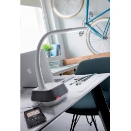 Lampe led touch bluetooth flexible Voice Mdc métal blanc à 5 intensités lumineuses 5w 260 lumens 5000k, haut parleur 7w
