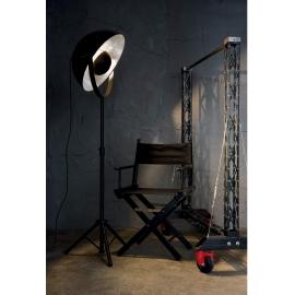 Lampadaire téléscopique Stage Ideal Lux métal noir, doré à la feuille d`argent 60w E27