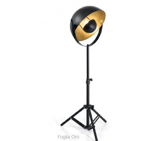 Lampadaire téléscopique Stage Ideal Lux métal noir, doré à la feuille d`or 60w E27
