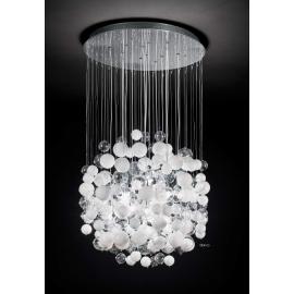 Lustre Bollicine Ideal Lux en métal chrome, bulles de verres soufflés blancs 14x40w G9