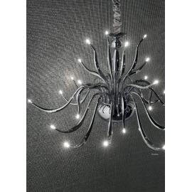 Lustre Elysee Ideal Lux en métal chrome, couvre chaîne en velours 24x20w G4 existe en blanc