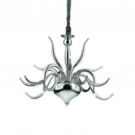 Lustre Elysee Ideal Lux en métal chrome, couvre chaîne en velours 18x20w G4 existe en blanc