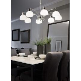 Lustre Tokyo Ideal Lux métal finition chrome, verres opales 8x40w G9