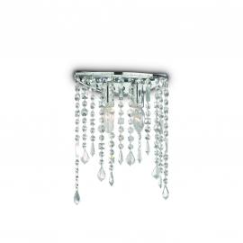 Applique Rain Ideal Lux métal finition chrome, pampilles transparentes en cristal poli 2x40w E14