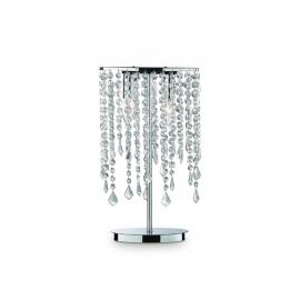Lampe Rain Ideal Lux métal finition chrome, pampilles transparentes en cristal poli 2x40w E14