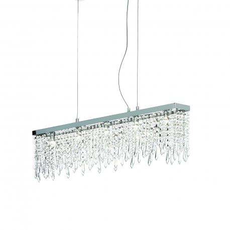 Suspension Giada Ideal Lux métal finition chrome, pampilles transparentes en cristal poli 7x40w G9