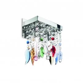 Applique Giada Color Ideal Lux métal finition chrome, pampilles transparentes et colorées en cristal poli 2x40w G9