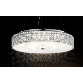 Suspension Roma Ideal Lux métal finition chrome, diffuseur avec éléments carrés en cristal biseauté 12x40w G9