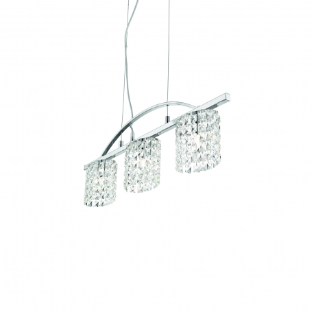 Suspension Spirit Ideal Lux métal finition chrome, pampilles en cristal taillé 3x40w G9