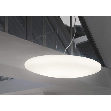 Suspension Smarties Ideal Lux en verre blanc soufflé 3x60w E27