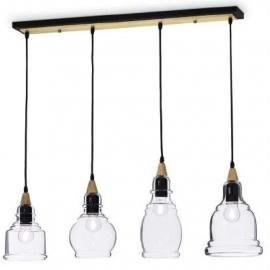 Suspension Gretel Ideal Lux en verre transparent 4x60w E27
