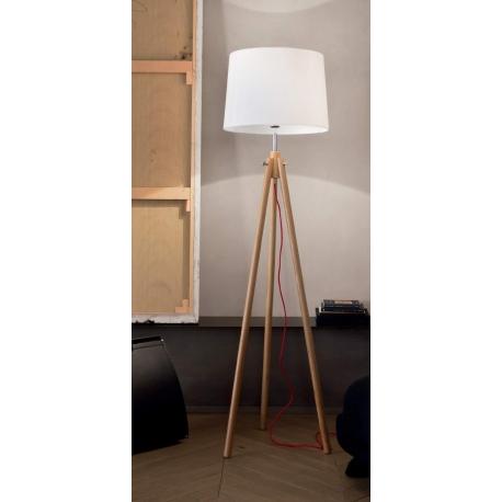 Lampadaire York Ideal Lux bois clair, fil textile rouge 60w E27