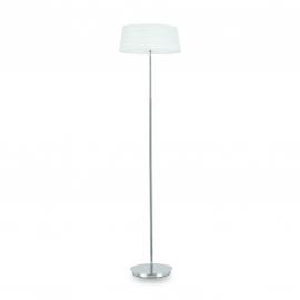 Lampadaire Isa Ideal Lux en métal chrome avec abat jour blanc 2x40w E14