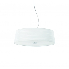 Suspension Isa Ideal Lux en métal chrome avec abat jour blanc 4x60w E27