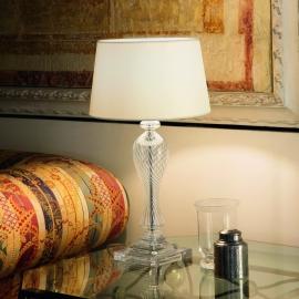 Lampe Voga Ideal Lux en verre transparent soufflé avec abat jour blanc 60w E27