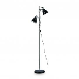 Lampadaire Elvis Ideal Lux en métal chrome et noir 2x60w E27