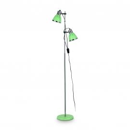 Lampadaire Elvis Ideal Lux en métal chrome et vert 2x60w E27