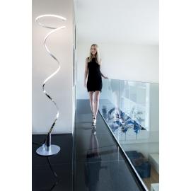 Lampadaire Led Helix Mantra métal chrome, argent diffuseur en acrylique 42w 3000k 3360 lumens