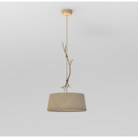 Suspension Sabina Mantra métal imitation bois, abat-jour lin tissé 40w E27