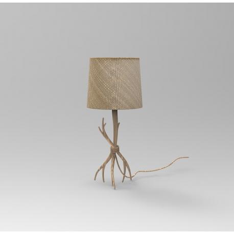 Lampe Sabina Mantra métal imitation bois, abat-jour lin tissé 40w E27