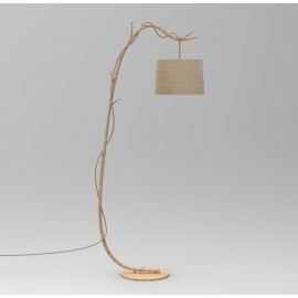 Lampadaire Sabina Mantra métal imitation bois, abat-jour lin tissé 40w E27