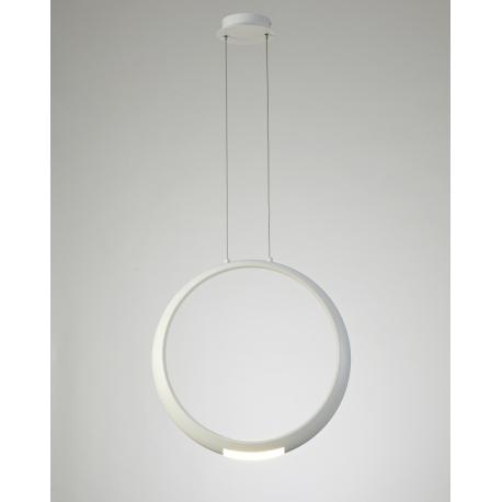 Lustre Led Ring Mantra aluminium blanc mat texturisé avec diffuseur en acrylique 18+5w 3000k 1600 lumens