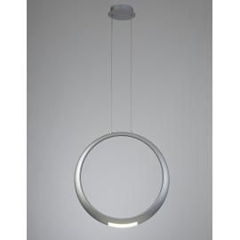 Lustre Led Ring Mantra aluminium argent texturisé avec diffuseur en acrylique 18+5w 3000k 1600 lumens