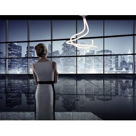 Lustre Led Nur Line Mantra base chrome diffuseur en acrylique 50w 3000k 3750 lumens