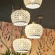 Suspension Edelweiss en céramique, fils textiles 4xE27