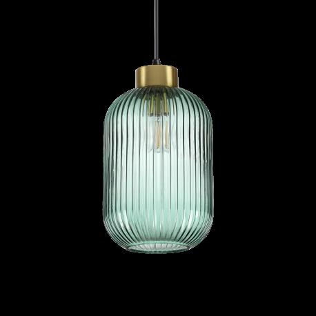 Suspension Mint monture en métal finition en laiton, pavillon noir mat, câble gainé en tissu, diffuseur en verre soufflé vert 1x