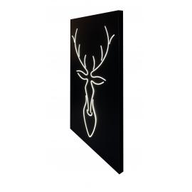 Applique, Tableau lumineux tête de cerf en bois fond noir 28w 4000K 1400 lumens, habillera et éclairera vos murs avec élégance
