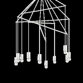 Lustre Pop métal blanc 10xE27, réglables en hauteur il s'adapte à tous les plafonds, idéal au dessus d'une table, ou pour un pla
