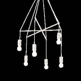 Lustre Pop métal blanc 6xE27, réglables en hauteur il s'adapte à tous les plafonds, idéal au dessus d'une table, ou pour un pla