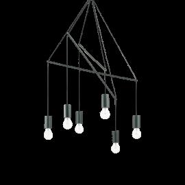 Lustre Pop métal noir 6xE27, réglables en hauteur il s'adapte à tous les plafonds, idéal au dessus d'une table, ou pour un pla