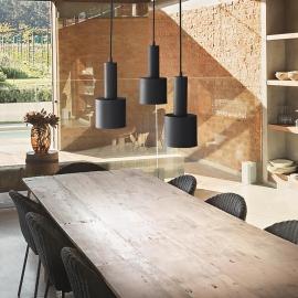 Suspension Holly métal noir 3xE27 câble textile idéal pour les plans de travail, pour les cuisines