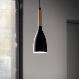 Suspension Manhattan Ideal Lux métal blanc intérieur noir et bois fil textile d11, parfait pour vos plans de travail, cuisine,