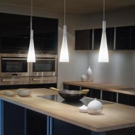 Suspension Milk Ideal Lux verre soufflé blanc fil textile 3xE27, sublimera vos cuisines, plans de travail, tables