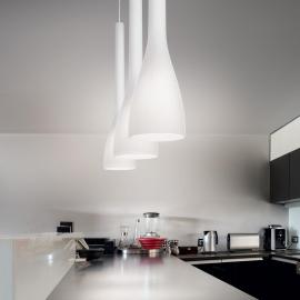 Suspension Milk Ideal Lux verre soufflé blanc fil textile E27, sublimera vos cuisines, plans de travail, tables