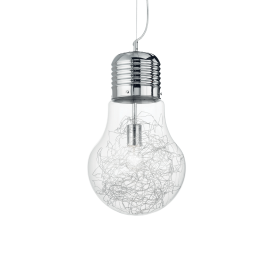 Suspension Luce Ideal Lux verre transparent avec décoration intérieure en fil d'aluminium, monture chrome 1XE27 D22, pour vos in